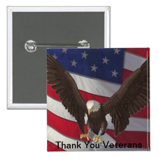 Gracias los veteranos pin cuadrado