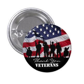 Gracias los veteranos pin redondo de 1 pulgada