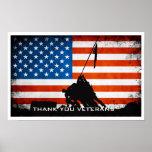 Gracias los veteranos - silueta de la bandera y de poster