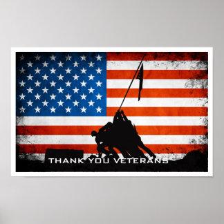 Gracias los veteranos - silueta de la bandera y póster
