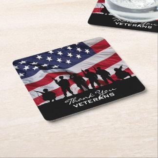 Gracias los veteranos - silueta y bandera de los posavasos personalizable cuadrado