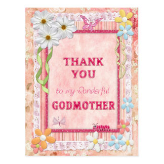 Gracias madrina, tarjeta del arte de las flores tarjetas postales