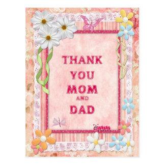 Gracias mamá y papá, tarjeta del arte de las tarjeta postal