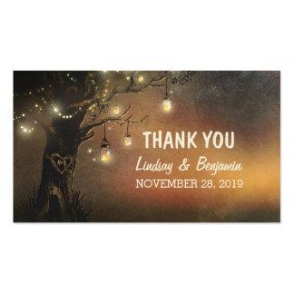 gracias marcar con etiqueta con el árbol del tarro tarjetas de visita