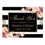 Gracias - marco negro floral del oro de las rayas postal
