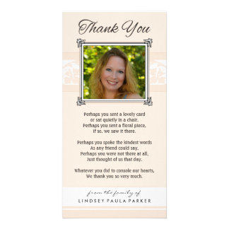 Gracias melocotón conmemorativo y la tarjeta tarjeta fotográfica personalizada
