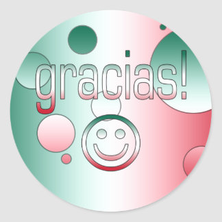 Gracias! Mexico Flag Colors Pop Art Classic Round Sticker