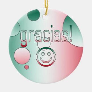 Gracias! Mexico Flag Colors Pop Art Christmas Tree Ornament