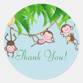 Gracias Monkeys al pegatina de la fiesta de
