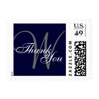 Gracias monograma del gris de azules marinos sello postal