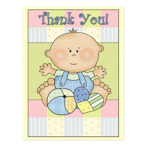 Gracias muchacho de la fiesta de bienvenida al beb tarjetas postales