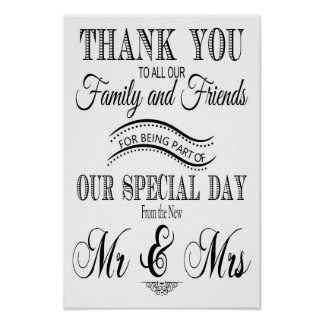 Gracias muestra del boda blanco y negro póster