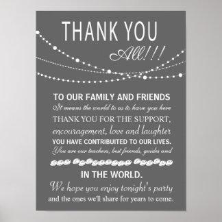 Gracias muestra o tarjeta del boda - vaya de poster