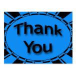 Gracias negro de azules turquesas brillante tarjetas postales