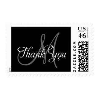 Gracias negro del monograma de los sellos del boda