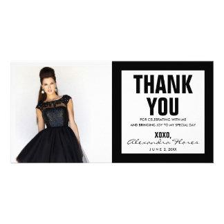 Gracias negro moderno y blanco de la tarjeta de la tarjetas fotográficas