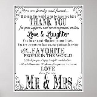 Gracias negro y blanco de la muestra del boda póster