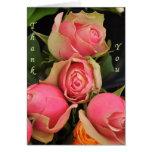 Gracias nota color de rosa rosada de la tarjeta