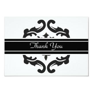 """Gracias Notelets en damasco negro y blanco Invitación 3.5"""" X 5"""""""