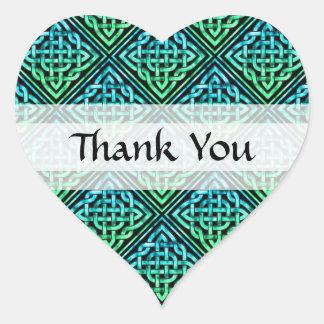 Gracias nudo céltico - verde azul del diamante pegatina en forma de corazón