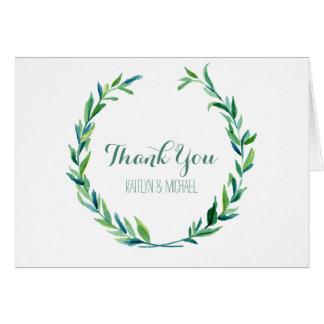 Gracias observa el boda verde oliva de la hoja de tarjeta pequeña