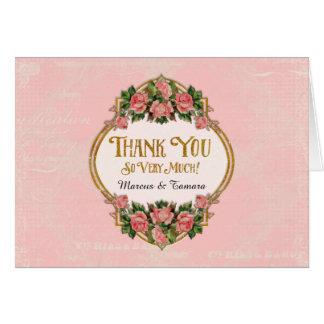 Gracias observa el brillo rosado del oro de tarjeta pequeña