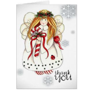 Gracias observar al ángel del navidad tarjeta pequeña