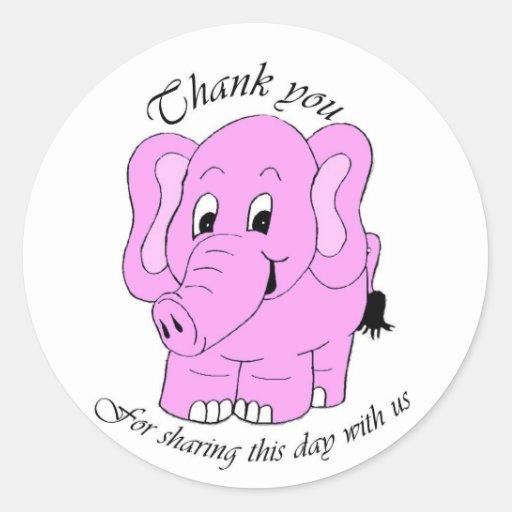 Gracias observar - el elefante rosado pegatina redonda