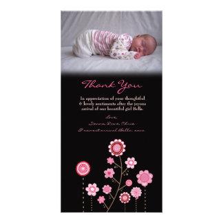Gracias observar la plantilla rosada de la tarjeta tarjetas fotograficas personalizadas