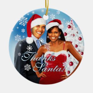 Gracias, ornamento del navidad de Santa Adorno Navideño Redondo De Cerámica