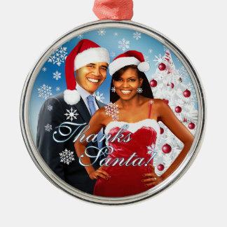 Gracias, ornamento del navidad de Santa Adorno Navideño Redondo De Metal