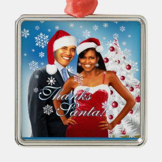 Gracias, ornamento del navidad de Santa Obama Adorno Navideño Cuadrado De Metal