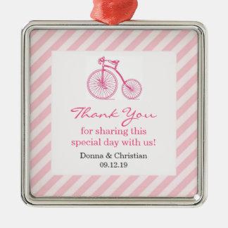 Gracias ornamento rosado del favor de la fiesta de adornos de navidad