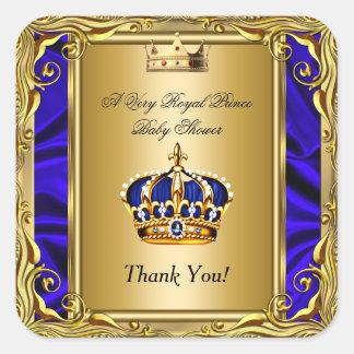 Gracias oro real de la fiesta de bienvenida al pegatina cuadrada