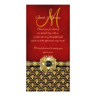 Gracias oro rojo negro del damasco tarjetas fotograficas