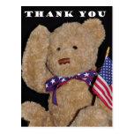 Gracias oso de peluche patriótico tarjetas postales