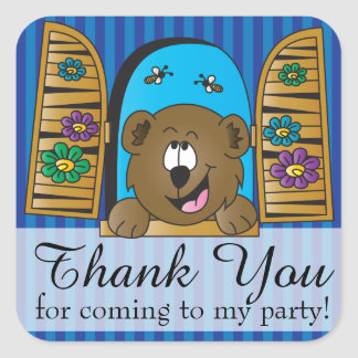 Gracias oso del dibujo animado colcomanias cuadradases