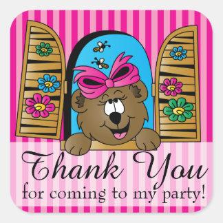 Gracias oso del dibujo animado calcomanía cuadrada