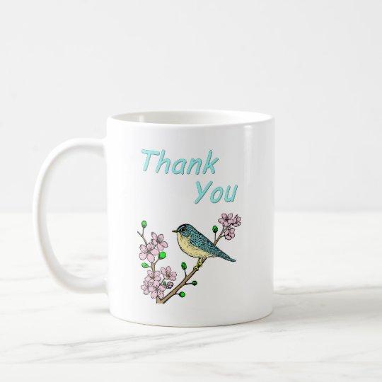 Gracias pájaro en el miembro taza de café