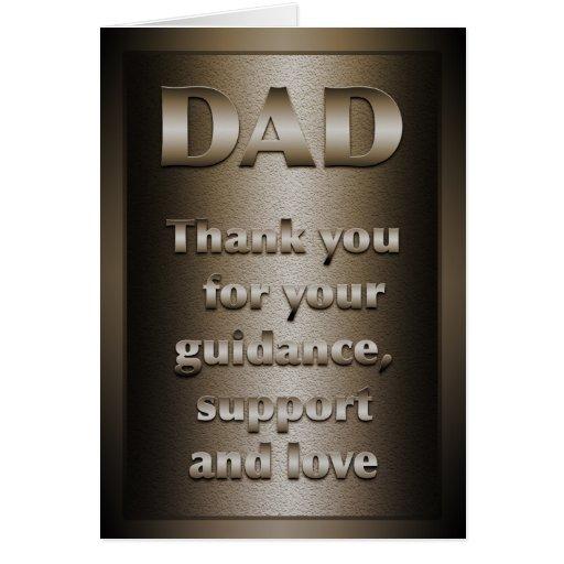 Gracias, papá (el bronce) tarjeta de felicitación
