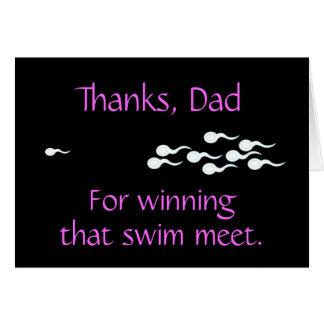 Gracias, papá… para ganar esa reunión de nadada tarjeta de felicitación