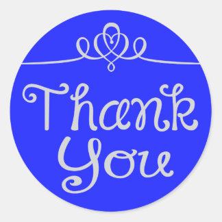 Gracias pegatina azul vibrante/sello del corazón