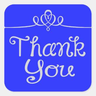 Gracias pegatina azul vibrante/sello del corazón pegatina cuadrada