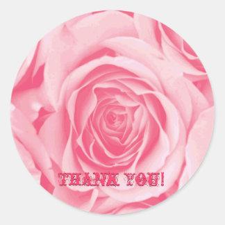 Gracias pegatina color de rosa rosado