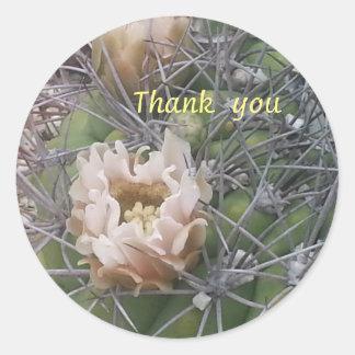gracias pegatina de la flor del cactus