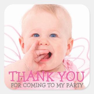 Gracias pegatina de la foto por bebé o fiesta de