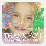 Gracias pegatina de la foto por fiesta de los niño
