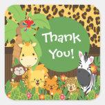 Gracias pegatina de los animales del bebé del