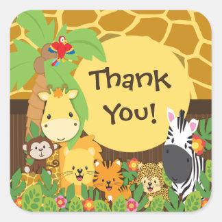 Gracias pegatina de los animales del bebé del safa
