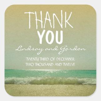 gracias pegatina del boda de playa